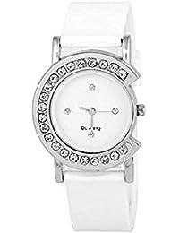 Montres Stylish Diamond Fancy C Dial Women Watch For Girls (White)