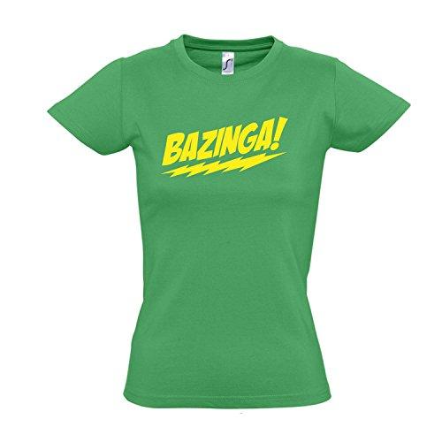 Damen T-Shirt - BAZINGA, The Big Bang Theory - FUN KULT SHIRT S-XXL , Kelly green - gelb , M -