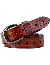 Agujeros de moda Cinturones de cuero genuino para las mujeres Segunda capa  de piel de vaca Cinturón de la hebilla… c2933c21b392