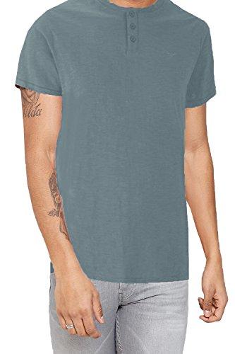 Herren Threadbare Oliver Designer Großvater Kragen Rundhals T-shirt Denim - Blau
