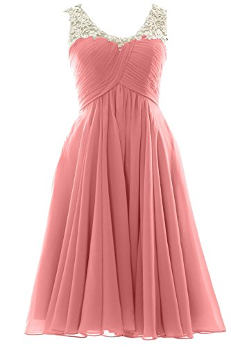 MACloth V Neck Beaded Lace Short Bridesmaid Dress Formal Evening Prom Gown Zartrosa