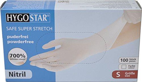 Preisvergleich Produktbild [100 Stück] Hygostar Nitrilhandschuhe SAFE SUPER STRETCH puderfrei weiß Größe S