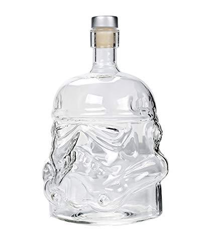 JANRON-Decanter Décanter,Carafe à décanter,Guerres des étoiles,Guerrier Noir,Casque de Soldat Blanc,Vodka,Bouteille de Whisky,Conception spéciale - 750ML 16.7X11.4X2.5CM (6.5X4.5X1Inch)