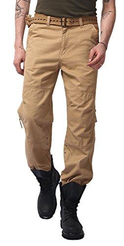 Panegy Homme Garçon Cargo Pantalon Combat Militaire Vintage Pants en Coton Jambes Longues Multi Poches Zip avce Ceinture pour Taille FR 38-52 - 4 Couleurs Kaki
