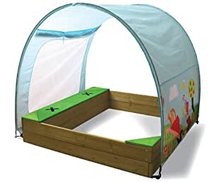 sandkasten aus holz mit sonnenschutz und spielzeugaufbewahrung spielzeug. Black Bedroom Furniture Sets. Home Design Ideas