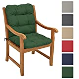 Beautissu Garden Chair Cushion Flair NL 100 x 50 x 8 cm Seatpad & Backrest with Soft Foam Flake Padding Dark Green