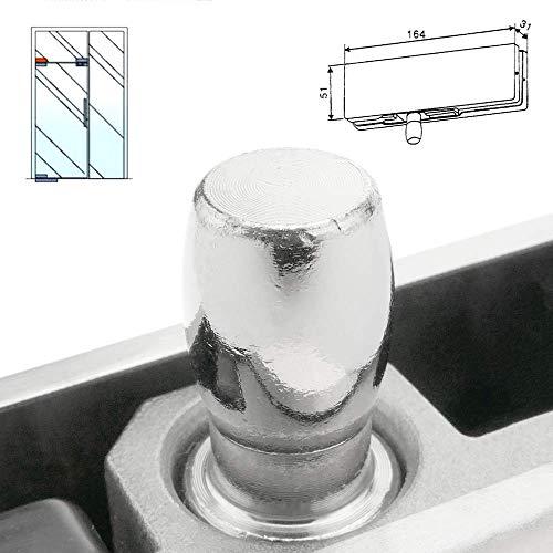 418Jiiabq7L - PrimeMatik - Pernio y bisagra Fija Superior de Aluminio para Puerta de Cristal para cierrapuertas de Suelo