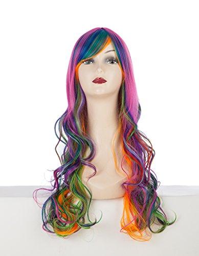 ShowPower Perücke heller Regenbogenfarbe Locken lang wig (Cute Kostüme Blonde)