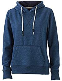 JAMES & NICHOLSON Cool hoodie in super-soft melange fabric (XXL, light-denim-melange)