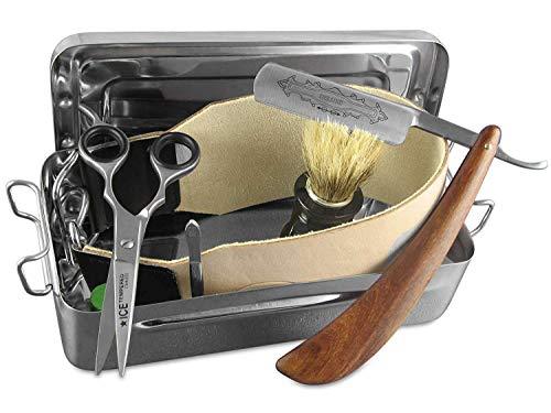 Solingen Paste Made in Germany im Rasiermesser Set   Rasier Set Zubehör   Extra breites Abziehleder   Holzgriff Rasiermesser mit Goldätzung