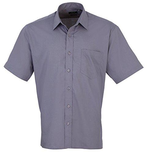 Premier Workwear Herren Businesshemd Poplin Short Sleeve Shirt Steel