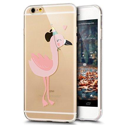 Coque iphone 7 Plus/iPhone 8 Plus,iPhone 7 Plus/ 8 Plus Coque en Silicone Slim Etui Transparent TPU Case Cover,Ukayfe Etui de Protection Cas en caoutchouc en Ultra Slim Silicone Étui avec Flamingos Fl Chapeau Flamingo