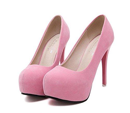 SHINIK Damen Pumps Wildleder runden Kopf wasserdicht flachen Schuhe Füße Sets Fuß Schuhe Kegel Ferse Schuhe Sandalen schwarz rosa Pink
