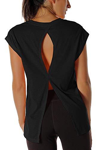 icyzone Damen Fitness-Trainings Kurzarm Shirt Rundhals Top unifarbenes Sport T-Shirt Lang (S, Black)