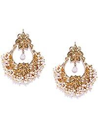 Zaveri Pearls Gold Tone Traditional Pearls Beaded Dangle Earring For Women-ZPFK7287