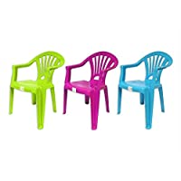Set of 3 Stackable Kids Children Plastic Chair Home Picnic Party Up To 22.5kg