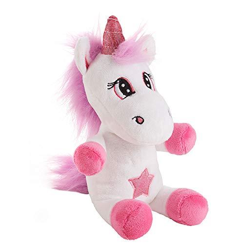 Einhorn weiß-lila 10x12x20cm Plüschtier Glitzer Stern Geschenk Kuscheltier Unicorn Pony Stofftier Maschinenwäsche