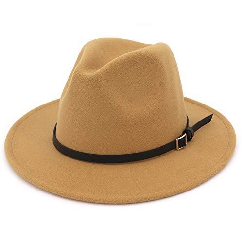 Herren Fedora-Hut mit breiter Krempe - Braun - L; Hütte Umfang: 59/60 cm; Für Männer ()