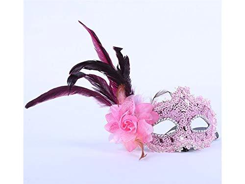 Zehaer Crafts Venezianische Feder Maske mit Blume Maskerade Maske für Halloween Party Weihnachten Fasching (lila) für Karneval 18.5X11cm Rose (Lila Feder Maske Mit Pailletten)