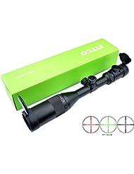 FITCO Rifle Portée 3-9x50AO Rouge/Vert (30mm) Tourelles cibles Mil Dot Chasse Riflescope