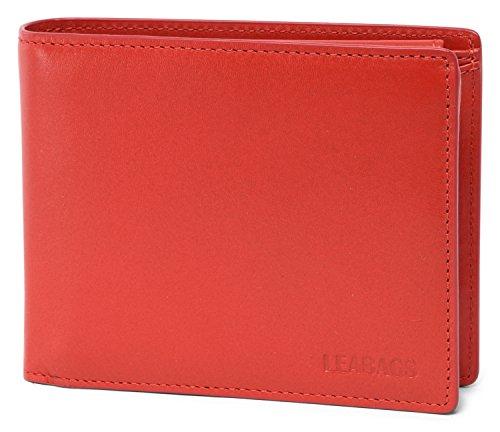 LEABAGS Illinois Geldbeutel aus echtem Kalbs-Leder im Vintage Look - Rot