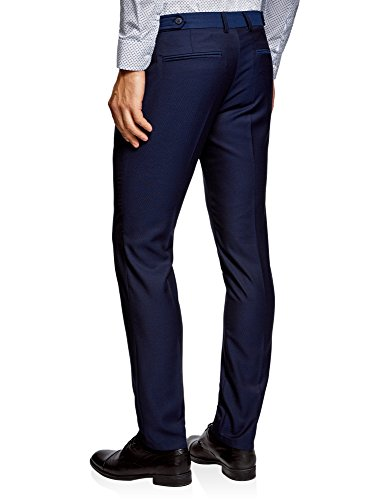 oodji Ultra Herren Jacquard-Hose Slim Fit Blau (7901N)
