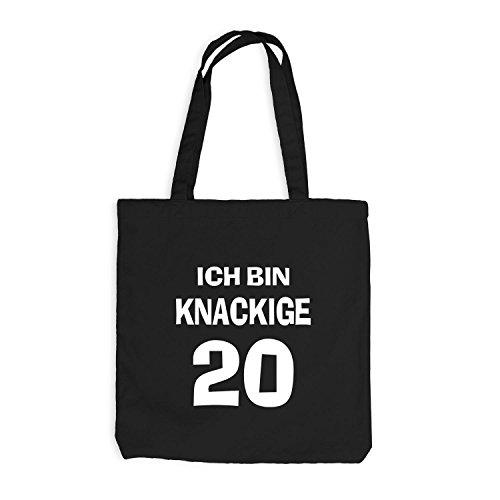 Jutebeutel - Ich bin knackige 20 - Geburtstag Birthday Zwanzig Schwarz