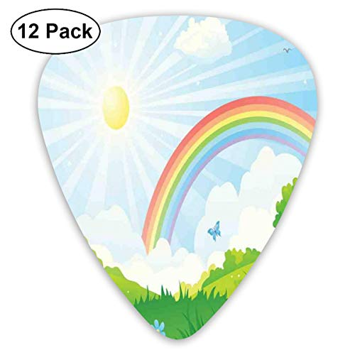 Guitar Picks - Abstract Art Colorful Designs,Cartoon Summer Nature With Sun And Rainbow Over Blooming Flowers And Butterflies,Unique Guitar Gift,For Bass Electric & Acoustic Guitars-12 Pack Rainbow Butterfly Zebra