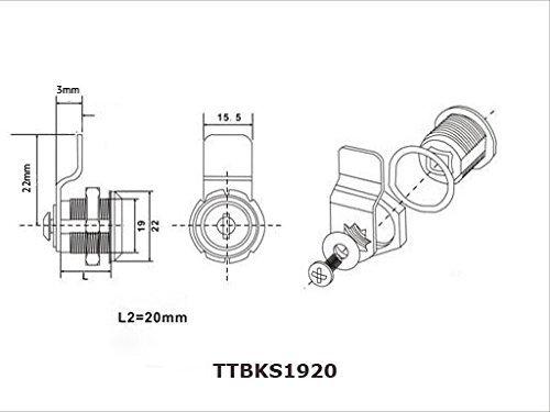 ToniTec Briefkastenschloss HebelZylinder universal M19 x 16 mm - 3