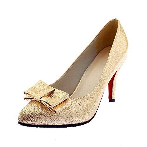 VogueZone009 Femme Pointu Tire Pu Cuir Couleur Unie Stylet Chaussures Légeres Doré