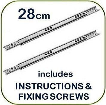 Schubladenschiene, Metall, Universalersatz für die meisten Möbelmarken, 28 x 1,7 cm Breite, 2 Stück - Breite Kugellager