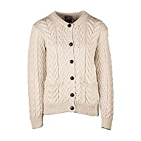 Aran Woollen Mills Womens Cable and Weave Lumber Cardigan Classic Aran, Natural, L