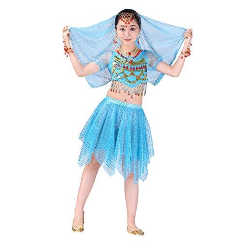 LSAltd Handmade Dance Kostüme, Mode Kinder Mädchen Süße Perlen Quaste Crop Top + Sterne Pailletten Unregelmäßigen Rock Bauchtanz Set Ägypten Tanzen Kleidung