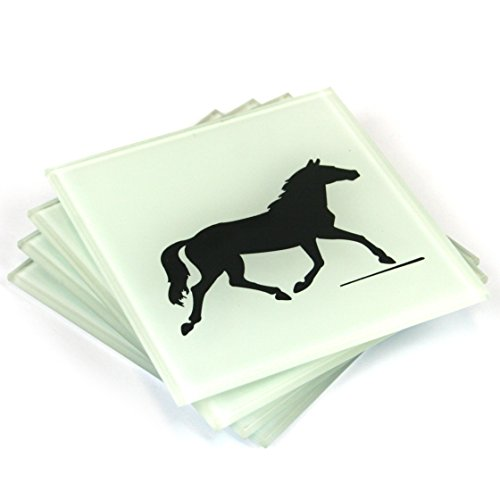 Set of 4 Frosted Glass Coasters with Black Horse Design by Black Ginger Frosted Dots
