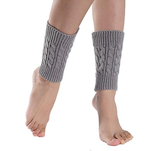 TWIFER Damen Kurze Strick Socken Beinlinge Boot Cover für Mädchen Kinder (Grau, 20cm)