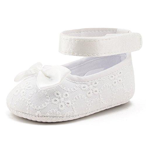 Delebao Babyschuhe Taufschuhe Krabbelschuhe Weiche Sohle Schnüren Weiße Schuhe Baby Taufe Kleinkind Solekleinkind Krippeschuhe für Mädchen (Schuhe,9-12 Monate) (Ballerinas Satin Weißen)