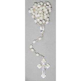 Glass rosary white glass bead glistening 42 cm
