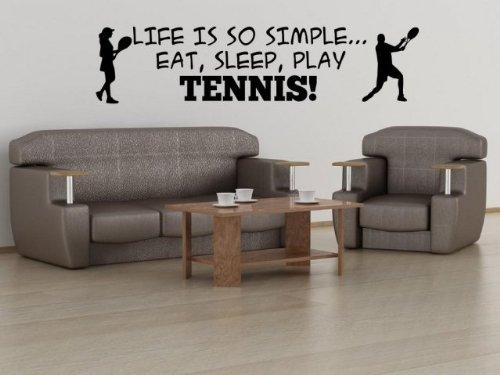 """Preisvergleich Produktbild """"Leben ist so einfach... EAT,  SLEEP,  Tennis spielen. – Wandsticker Groß,  schwarz,  Medium: 40cm x 170cm / 16"""" x 67"""""""