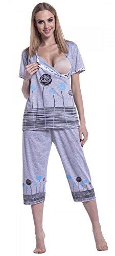Happy Mama. Femme Pyjama De Nuit. Nuisette Grossesse Allaitement à Imprimé. 174p Turquoise