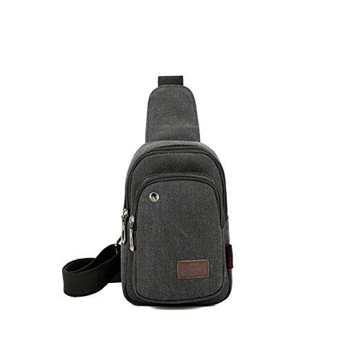 BULAGE Taschen Männer Brusttaschen Im Freien Erholung Leinwand Schulter Diagonal Lässig Kopfhöreranschluss Einzigartig Jugend Gray