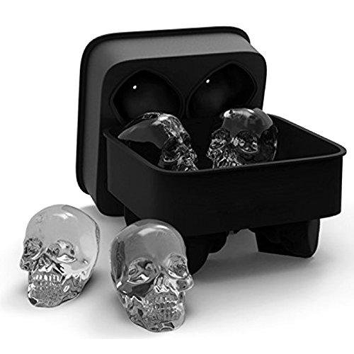 Kungfu Mall 3D Skull flexibel Silikon Ice Cube Mold Tray Easy Release Realistic Skull Ice Cube Maker