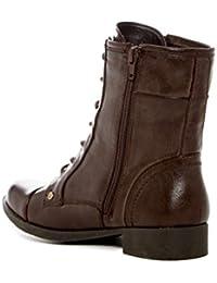 G by Guess Mujeres BATES Punta Redondeada Botas de Combate, Dark Brown Leather, Talla 9