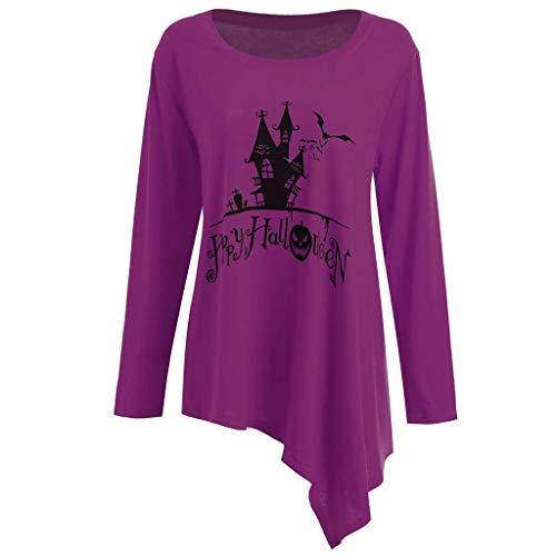 GOKOMO Halloween KostüM Damen Langarm Bluse Lang Tops UnregelmäßIge Bluse Rundhalsausschnitt Damen(Lila,XXX-Large)
