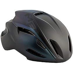 MET Manta Triathlon–Casco de fácil Comodidad ventilado para Bicicleta de Carreras inmould, antirreflectantes 570017, Color Negro schil lernd, tamaño L