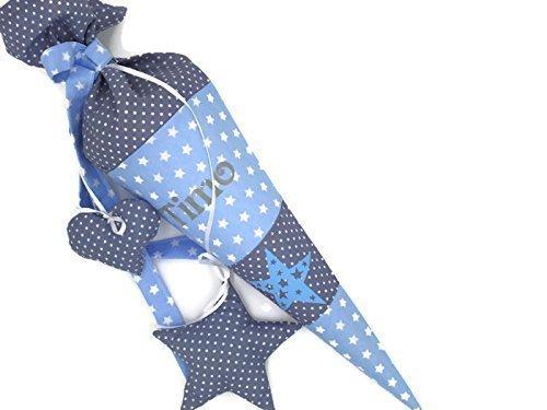 Geschwisterschultüte mit Namen Sterne Blau Zuckertüte - 3