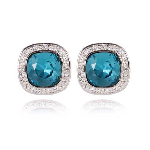 FAIRY COUPLE Square Shape Ocean color Bule Gemstones with Clear Austrian Crystal Stud Earrings E379
