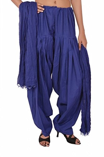Stylenmart Women Cotton Solid Full Patiala Salwar Dupatta Set (Stmapa078608 _Blue _Free...