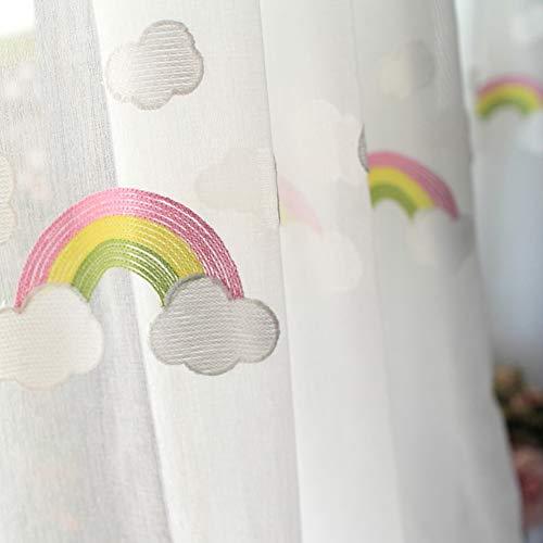 Qiaogth bambini ricamo tenda trasparente arcobaleno con gancio, oscurante finestra drappo pannello per bambini camera da letto soggiorno, 1 pannello-bianca 250x270cm(98x106inch)