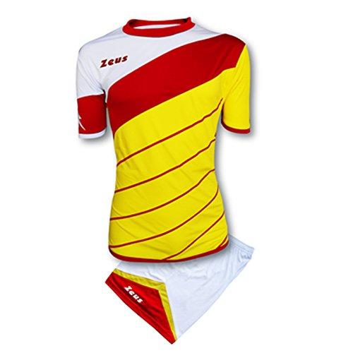 Kit zeus lybra uomo giallo-rosso-bianco completino completo calcio calcetto torneo scuola sport training volley pegashop (s)