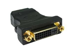 Adaptateur OR DVI-D femelle => HDMI mâle. Permet de convertir un cordon DVI-D mâle/mâle en cordon DVI-D mâle/HDMI mâle.